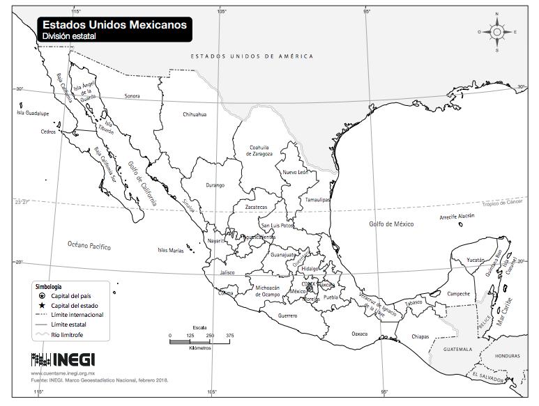 Mapa de México con nombres sin color