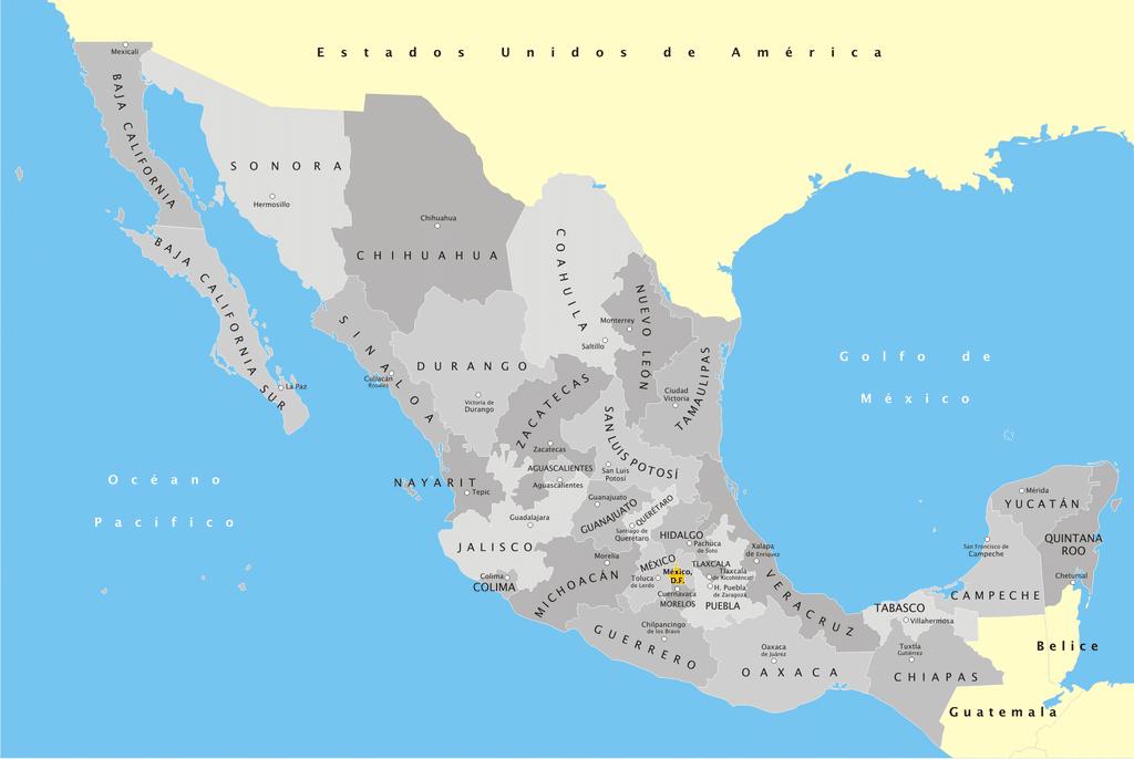 Mapa de México con nombres división política
