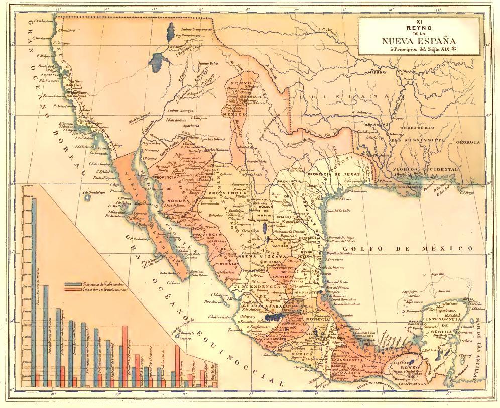 Mapa turístico de México Nueva españa