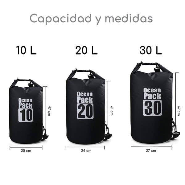 Bolsa impermeable negra ocean pack capacidad y medidas